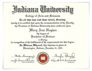 Indiana University Bachelor of Science in Biology